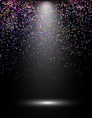Abstract celebration background with spotlight and confetti