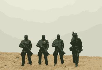 Soldiers in battlefield vector