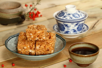 Chinese tea ceremony and tea, traditional pastry Sachima