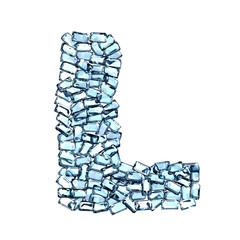 l lettera zaffiro blu azzurro gemme 3d, sfondo bianco