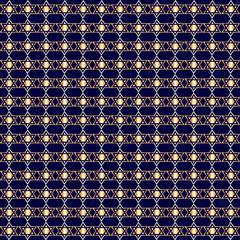 Gold Hanukkah Star Over Dark Blue Seamless Pattern