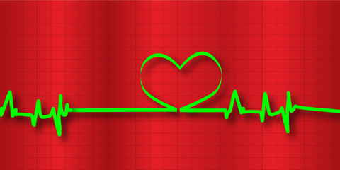 Bright Green Cardiogram with a Heart Over Red