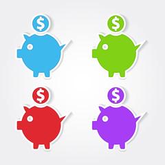 Piggy Bank Colorful Vector Icon Design