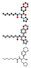 Eliglustat Gaucher's disease drug molecule.