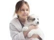 cute little girl and puppy on a white background isolated