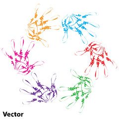 Vector conceptual child hand circle