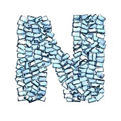 n lettera zaffiro blu azzurro gemme 3d, sfondo bianco