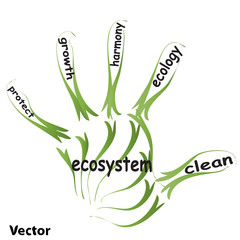 Vector hand print ecology concept text