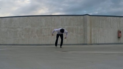 Breakdancer on the street, backflip slowmotion