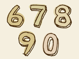 67890 brown stained set of numbers