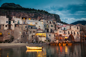 harbor view in Cefalu at dusk
