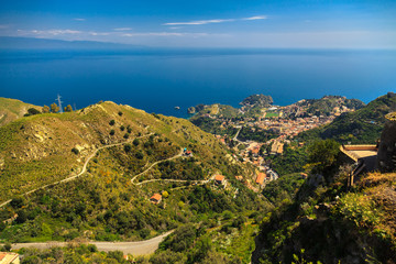 aerial view of Taormina and its suburbs