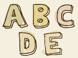 abcde uppercase stained alphabet letter set