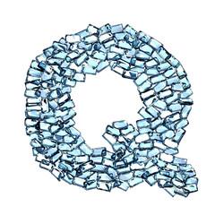 q lettera zaffiro blu azzurro gemme 3d, sfondo bianco