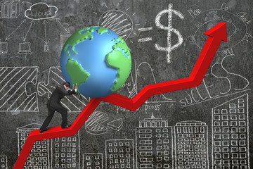 businessman pushing globe at trend chart starting point with doo