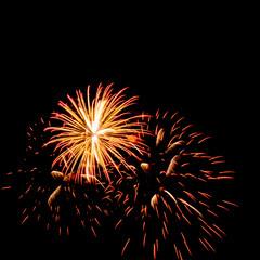 colorful fireworks over dark sky background