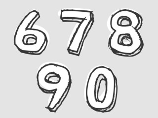 67890 white stained set of numbers