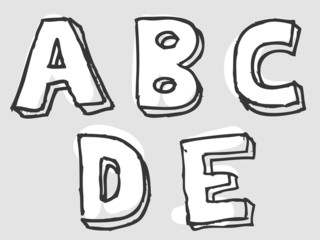 ABCDE stained rough sketched alphabet letters