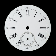Antique, hand-painted, enamel watch face. Isolated on black.
