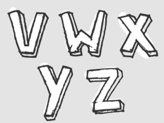 VWXYZ stained rough sketched alphabet letters