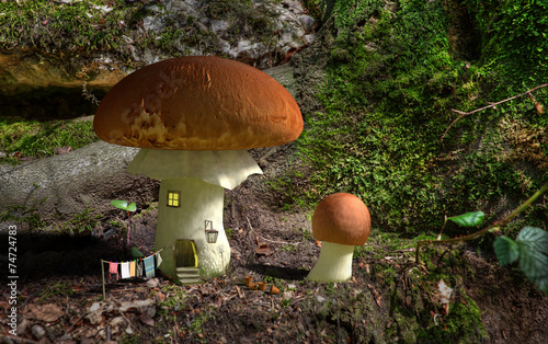 Fairytale mushroom house in the woods.