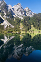 Donnerkogel reflected on the Gosau lake