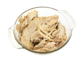 Pieces of boned turkey in a bowl
