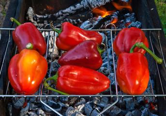 Paprika on grill