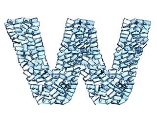 w lettera zaffiro blu azzurro gemme 3d, sfondo bianco