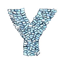 y lettera zaffiro blu azzurro gemme 3d, sfondo bianco