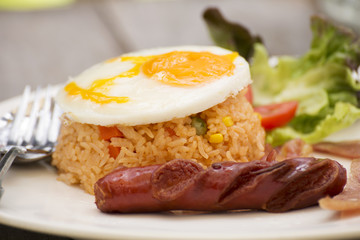 Fried Rice with Egg Bacon and Sausage