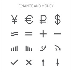 Collection of simple icons for business and finance