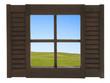 canvas print picture - Fenster mit Aussicht auf eine Feldlandschaft