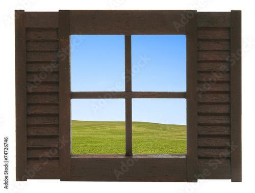 canvas print picture Fenster mit Aussicht auf eine Feldlandschaft