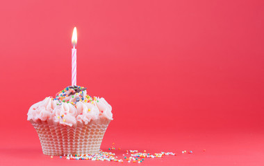 Cupcake with the burning festive candle on a red background