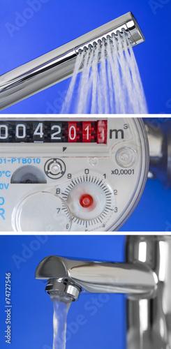 Leinwandbild Motiv Collage Wasserverbrauch