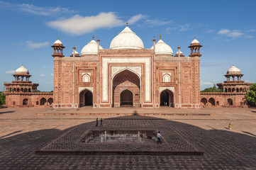 mosque and shadow of taj mahal