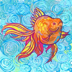 Золотая рыбка в стиле импрессионизма