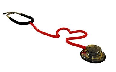 stethoscope heart shaped isolated on white background