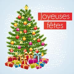 Joyeuses fêtes. Carte de vœux avec cadeaux sous le sapin.
