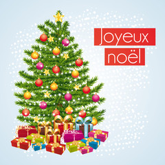 Joyeux noël. Carte de vœux avec cadeaux sous le sapin.