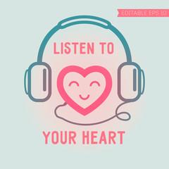 Cute heart listening yourself