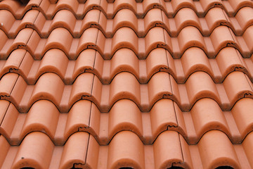 New bulgarian roof tiles close up detail
