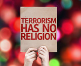 Terrorism Has No Religion card with colorful background - Fine Art prints