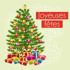 Joyeuses fêtes. Carte de vœux pastel cadeaux sous le sapin.