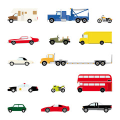 Automotive and transportation icons vector set