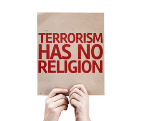 Terrorism Has No Religion card isolated on white background