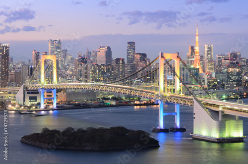 Poster View of Tokyo Bay, Rainbow Bridge, and Tokyo Tower
