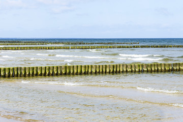 wave breakers at the baltic sea