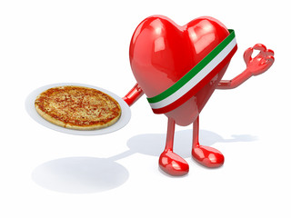heart with arms, legs and dish of pizza on hand